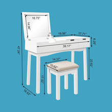 Load image into Gallery viewer, Related 39 17inch vanity dressing table set with flip top mirror makeup table writing desk 2 drawers 1 large storage space with drop organizers cushioned stool easy assembly white