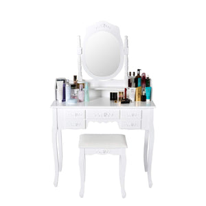 Heavy duty kinsuite makeup vanity table set white dressing table stool seat with oval mirror and 7 drawers storage bedroom dresser desk furniture gift for women girl
