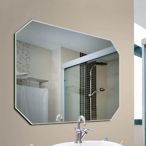 Organize with guowei mirror octagon frameless wall mounted high definition beveled bathroom makeup vanity 3 size color silver size 60x80cm