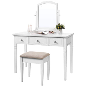 Get vasagle vanity set with 3 big drawers dressing table with 1 stool makeup desk with large rotating mirror makeup and cosmetic storage multifunctional easy to assemble white urdt106wt
