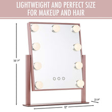 Load image into Gallery viewer, Order now vanity makeup mirror with hollywood lights led lighted make up vanity for cosmetics professional tabletop beauty mirror rose gold