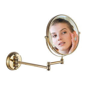 Get makeup mirror wall mount 8 inch dual side with 1x 5x magnification bathroom magnifying mirror two side 360 swivel cosmetic face mirror extendable vanity mirrors luxury brass gold marmolux acc