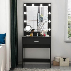 Discover the tribesigns vanity set with lighted mirror makeup vanity dressing table dresser desk with large drawer for bedroom black 10 cool led bulbs