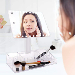 Best fascinate xl makeup mirror with storage organizer vanity mirror w lights and 10x magnification 32 leds cosmetic mirror w acrylic makeup organizer touch screen dual power 360 rotation tabletop mirror
