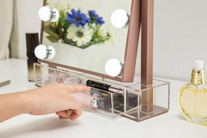 Related hollywood lighted vanity makeup mirror light up professional mirror with storage 3 color lighting modes large cosmetic mirror with 12 dimmable bulbs for dressing table