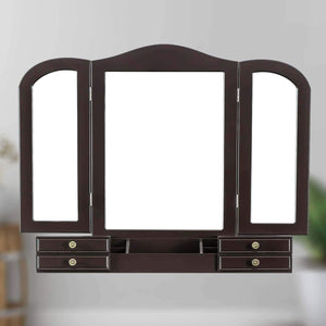 Amazon best youke vanity set tri folding necklace hooked mirror 7 drawers makeup dressing table with cushioned stool easy assemblebrown
