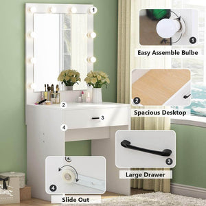 On amazon tribesigns vanity set with lighted mirror makeup vanity dressing table dresser desk with large drawer for bedroom white 10 warm led bulb