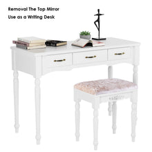 Load image into Gallery viewer, Shop for homecho makeup vanity table set removable tri folding mirror and 8 jewelry necklace hooks with 7 drawers and 6 makeup organizers dressing table with cushioned stool bedroom white color hmc md 011