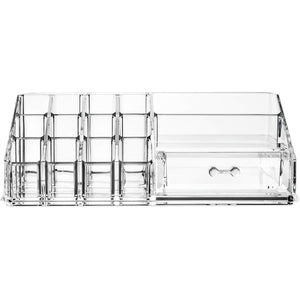 Exclusive acrylic cosmetic storage lipstick organizer decor 15 slot organizers 1 box drawer tray holder for makeup perfume brush pens pencil lipgloss and other beauty accessories for vanity or countertop