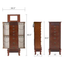 Load image into Gallery viewer, Related fdw jewelry cabinet jewelry chest jewelry armoire wood jewelry box storage stand organizer with side doors 7 drawers makeup mirror