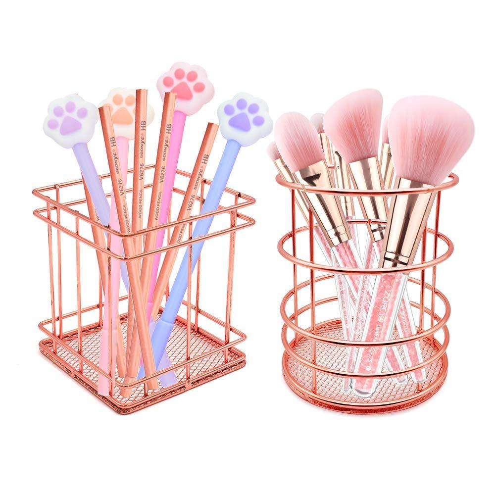 2 Pack Pencil Holder, Square+Round Iron Wire Metal Desktop Pencil Holder Stationary Makeup Organizer Holder for Office Home (Rose Gold)