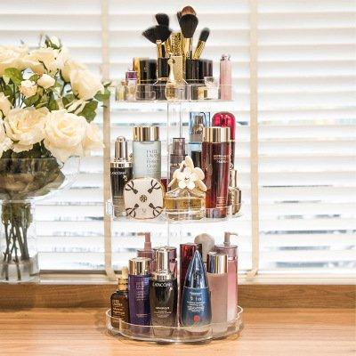 Jerrybox Acrylic Makeup Organizer 360-Degree Rotating Adjustable Multi-Function Makeup Organizer