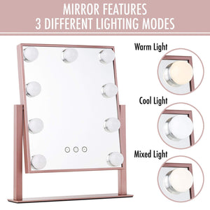 Organize with vanity makeup mirror with hollywood lights led lighted make up vanity for cosmetics professional tabletop beauty mirror rose gold