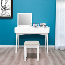 Load image into Gallery viewer, Purchase 39 17inch vanity dressing table set with flip top mirror makeup table writing desk 2 drawers 1 large storage space with drop organizers cushioned stool easy assembly white