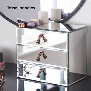 Latest beautify mirrored glass cosmetic makeup jewelry organizer with 3 drawers and makeup brushes section includes glass cleaning cloth and rose gold handles