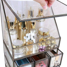 Load image into Gallery viewer, Storage hersoo large cosmetics makeup organizer transparent bathroom accessories storage glass display with slanted front open lid cosmetic stackable holder for makeup brushes perfumes skincare
