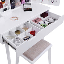 Load image into Gallery viewer, Storage organizer bewishome vanity set with mirror jewelry cabinet jewelry armoire makeup organizer cushioned stool 2 sliding drawers white makeup vanity desk dressing table fst04w