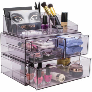 Home sorbus acrylic cosmetics makeup and jewelry storage case x large display sets interlocking scoop drawers to create your own specially designed makeup counter stackable and interchangeable purple