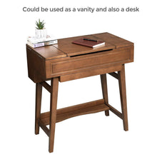 Load image into Gallery viewer, Buy vasagle vanity table with flip top mirror solid wood makeup dressing table desk 6 organizers for different sized makeup accessories 1 small drawers for lipsticks powders saddle brown urdt26br