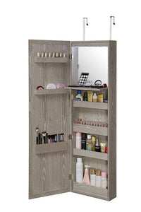Storage organizer abington lane wall mounted over the door makeup organizer beauty armoire with led lights and stowaway mirror heathered grey