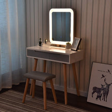 Load image into Gallery viewer, Exclusive vanity table set with adjustable brightness mirror and cushioned stool dressing table vanity makeup table with free make up organizer