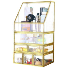 Load image into Gallery viewer, Selection antique spacious mirror glass drawers set vanity dresser gold makeup storage stunning cube beauty display it consists of 4separate organizers dustproof for skincare pallete perfumes brushes makeup