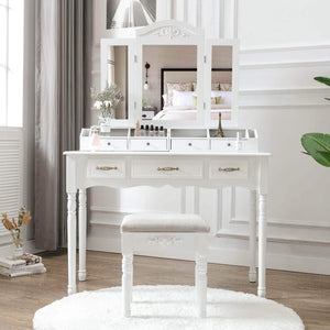 Order now honbay vanity set tri folding necklace hooked mirror 7 large drawers free organizer 2 makeup brush holders makeup dressing table with cushioned stool for women girls white