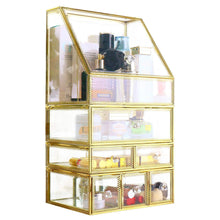 Load image into Gallery viewer, Shop for antique spacious mirror glass drawers set vanity dresser gold makeup storage stunning cube beauty display it consists of 4separate organizers dustproof for skincare pallete perfumes brushes makeup