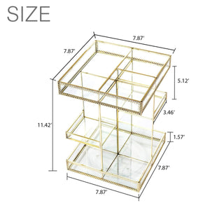 Featured display4top antique makeup organizer 360 degree rotation adjustable jewelry retro countertop cosmetic storage box for brushes lipsticks skincare toner perfume vanity display gold
