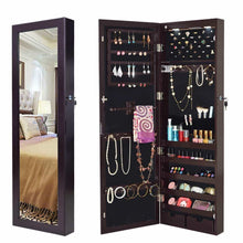 Load image into Gallery viewer, Storage giantex wall door mounted jewelry armoire organizer with 2 led lights lockable height adjustable jewelry cabinet with full length mirror large capacity dressing makeup jewelry mirror storage brown