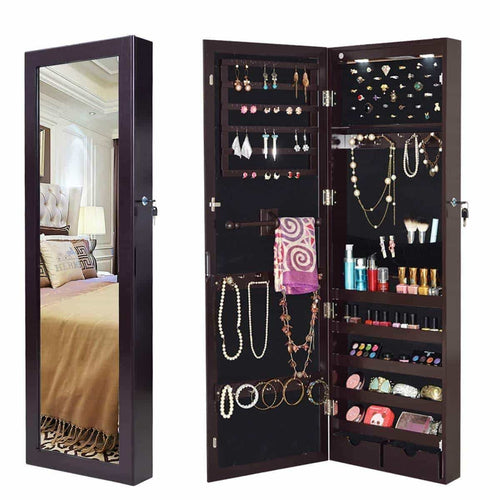 Storage giantex wall door mounted jewelry armoire organizer with 2 led lights lockable height adjustable jewelry cabinet with full length mirror large capacity dressing makeup jewelry mirror storage brown