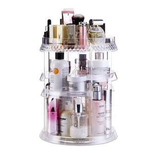 Shop makeup organizer acrylic cosmetic organizer vanity and rotating makeup storage perfume organizer with large capacity fit cosmetics perfume brush and more for countertop bathroom and bedroom
