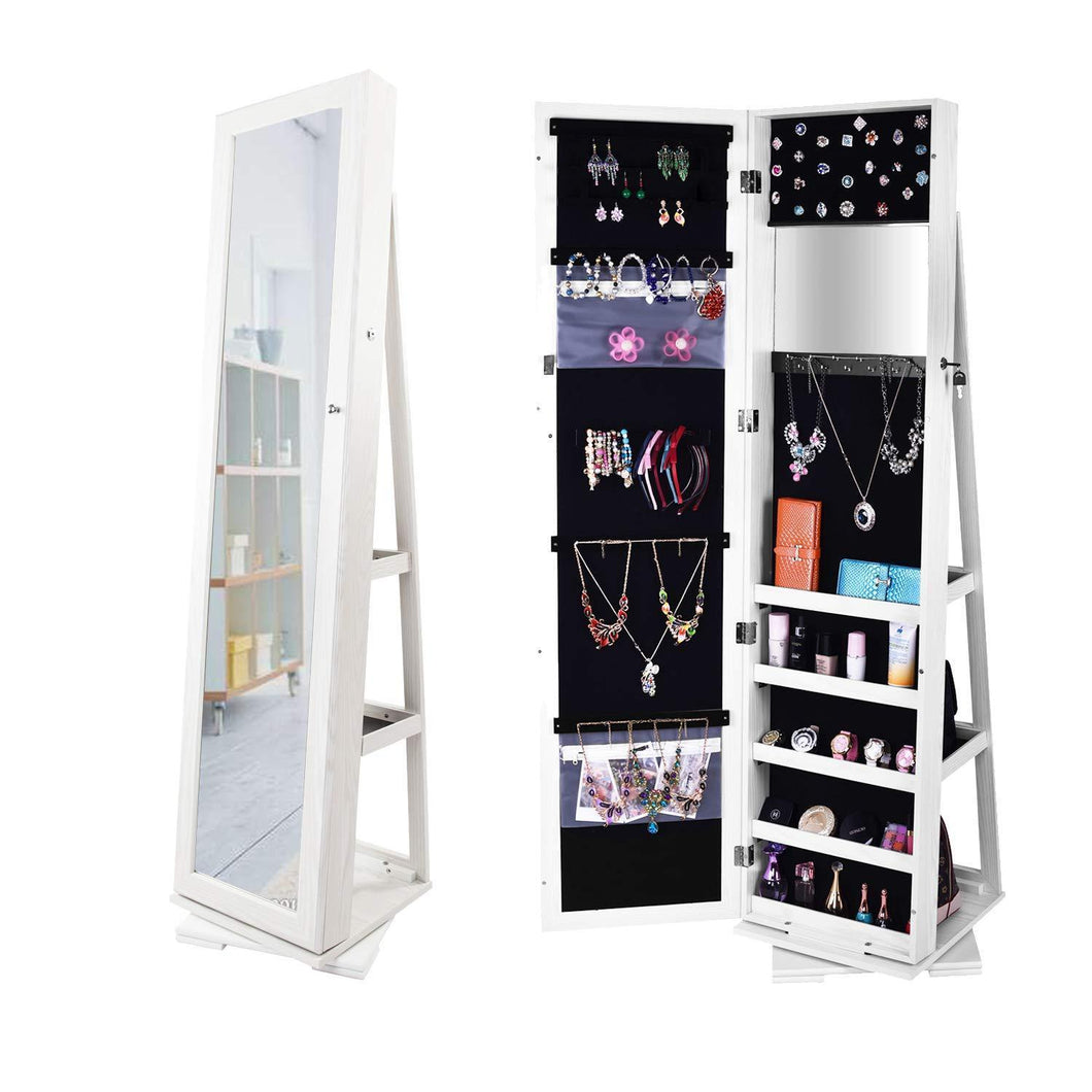 Best seller  bonnlo cheval jewelry armoire 360 degree rotary swivel mirrored cabinet w 63 h full length mirror lockable decorate closet makeup organizer floor bedroom solid freestanding new year gift