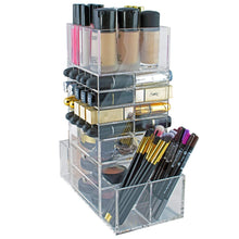 Load image into Gallery viewer, Save on spinning makeup organizer rotating tower acrylic all in one lipstick lip gloss makeup brush holder drawers pockets for eyeshadows compacts blushes powders perfume