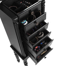 Load image into Gallery viewer, Save on giantex jewelry armoire chest cabinet storage box with top flip makeup mirror large standing organizer for bedroom 10 necklace hooks space saving side swing doors jewelry armoires w 5 drawers black
