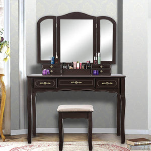 Top rated youke vanity set tri folding necklace hooked mirror 7 drawers makeup dressing table with cushioned stool easy assemblebrown