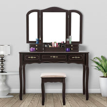 Load image into Gallery viewer, Try youke vanity set tri folding necklace hooked mirror 7 drawers makeup dressing table with cushioned stool easy assemblebrown