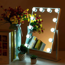 Load image into Gallery viewer, Exclusive mrah hollywood makeup vanity mirror white lighted makeup mirror tabletops lighted mirror led illuminated cosmetic mirror with led dimmable bulbs