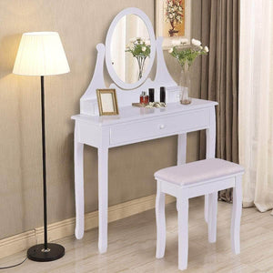 Budget giantex vanity table set with 360 rotating round mirror makeup mirrored dressing table with cushioned stool 3 drawers bedroom vanities for women girls detachable mirror stand to be a desk white