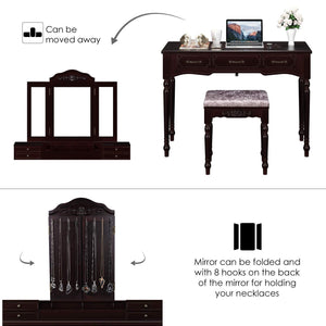 Cheap homecho vanity table set with 7 drawers and 6 makeup organizers removable tri folding mirror and 8 necklace hooks with cushioned stool dark espresso hmc md 010