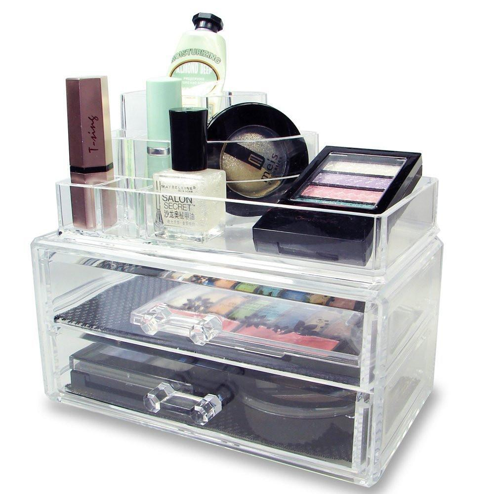 #COMS3615 Acrylic Makeup & Jewelry Organizer Two Pieces Set