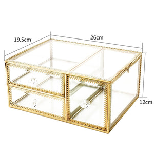 Exclusive antique beauty display clear glass 3drawers palette organizer cosmetic storage makeup container 3cube hoder beauty dresser vanity cabinet decorative keepsake box