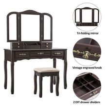 Load image into Gallery viewer, Amazon youke vanity set tri folding necklace hooked mirror 7 drawers makeup dressing table with cushioned stool easy assemblebrown