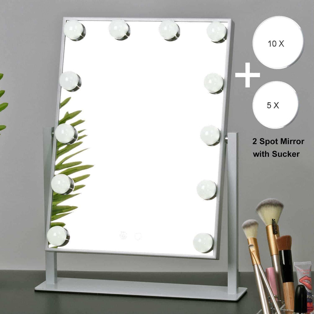 Discover the best mrah hollywood makeup vanity mirror white lighted makeup mirror tabletops lighted mirror led illuminated cosmetic mirror with led dimmable bulbs