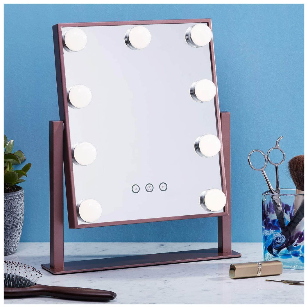 Latest vanity makeup mirror with hollywood lights led lighted make up vanity for cosmetics professional tabletop beauty mirror rose gold