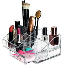 Load image into Gallery viewer, Explore acrylic cosmetic storage lipstick organizer decor 15 slot organizers 1 box drawer tray holder for makeup perfume brush pens pencil lipgloss and other beauty accessories for vanity or countertop
