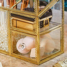 Load image into Gallery viewer, Amazon putwo makeup organizer handmade vintage brass edge makeup brush holder glass makeup brushes storage cosmetic organizer makeup vanity decoration jewelry box make up brushes holder with free pearls