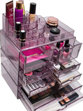 Load image into Gallery viewer, Heavy duty sorbus acrylic cosmetics makeup and jewelry storage case x large display sets interlocking scoop drawers to create your own specially designed makeup counter stackable and interchangeable purple 1