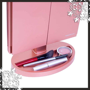 Latest mirrorvana xlarge vanity mirror with lights extravagant trifold led lighted makeup mirror with 3x 5x 10x magnification bonus usb cable 2018 xlarge rose gold model