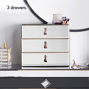 Home beautify mirrored glass cosmetic makeup jewelry organizer with 3 drawers and makeup brushes section includes glass cleaning cloth and rose gold handles